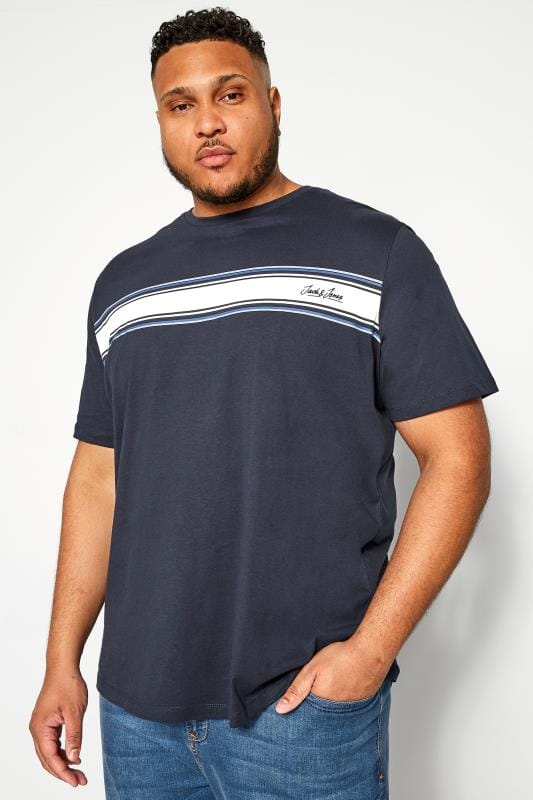 Большие размеры | T-Shirts JACK & JONES Navy Stripe T-Shirt