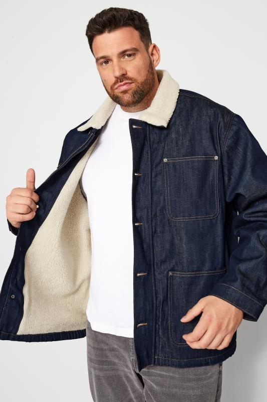 Plus Size Casual / Every Day JACK & JONES Navy Teddy Collar Denim Jacket
