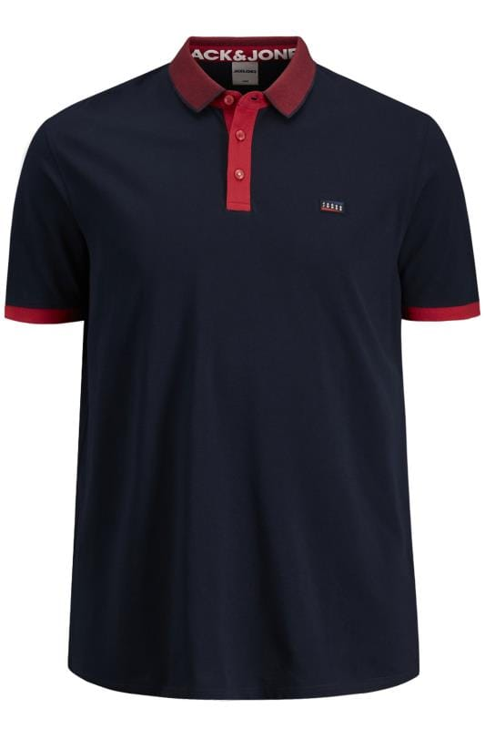 Plus Size Polo Shirts JACK & JONES Navy Tipped Polo Shirt