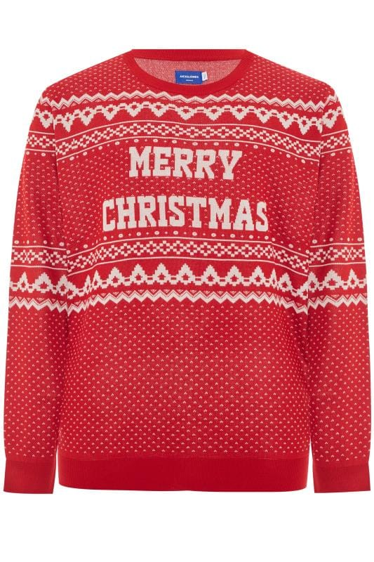 Pulls Grande Taille JACK & JONES Red Christmas Slogan Jumper