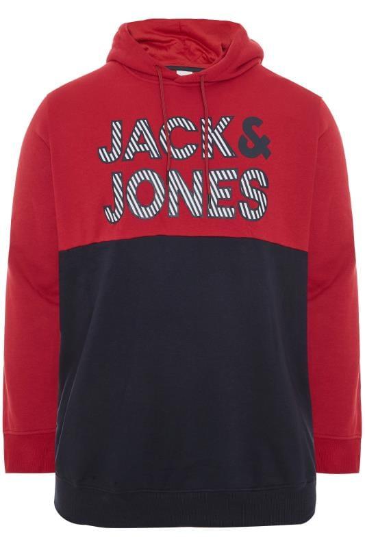 JACK & JONES Red Logo Print Hoodie