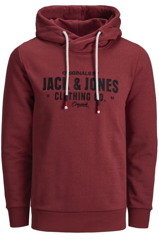 Große Größen Hoodies JACK & JONES Red Marl Crossover Printed Hoodie