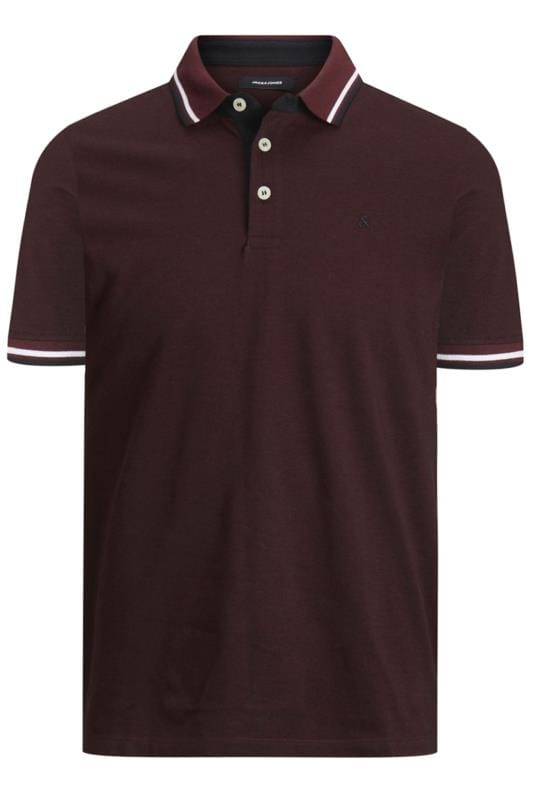 Plus Size Polo Shirts JACK & JONES Red Paulos Polo Shirt