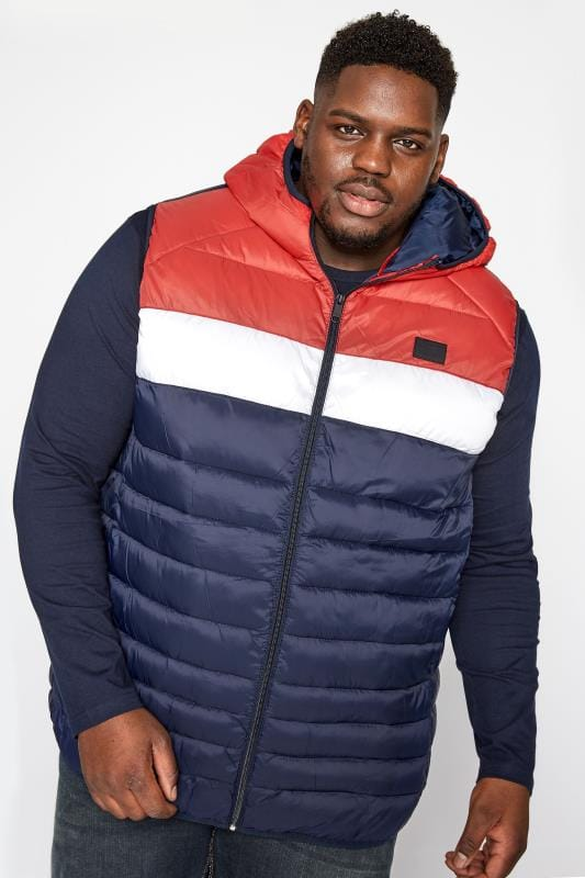 Gilets Grande Taille JACK & JONES Red, White & Navy Padded Hooded Gilet