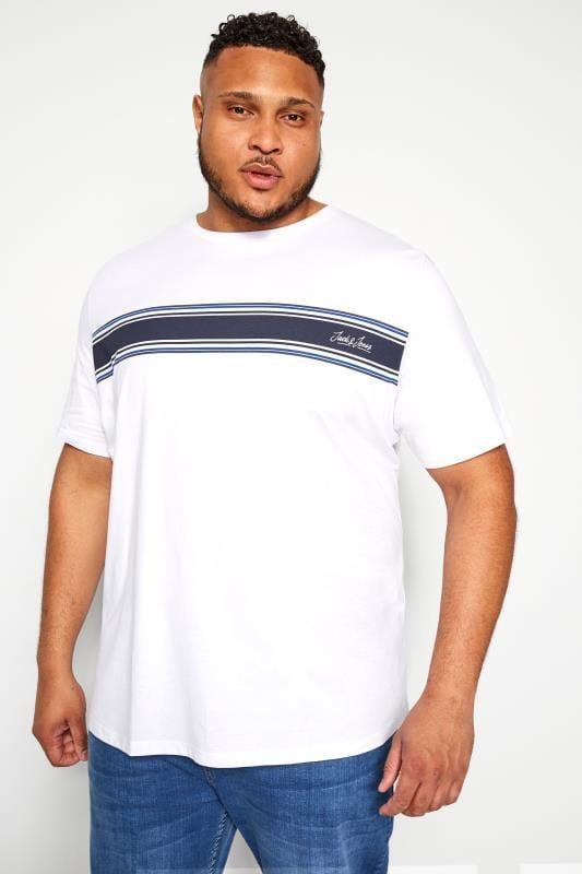 T-Shirts dla puszystych JACK & JONES White Stripe T-Shirt
