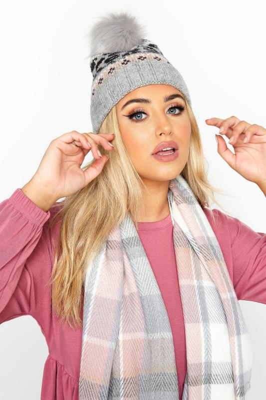 Grey Fairisle Pom Pom Cable Knitted Hat