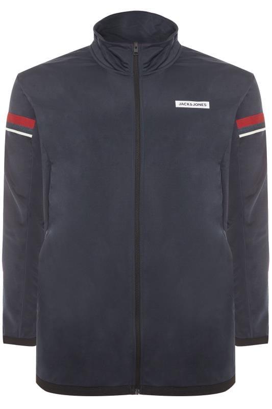 Plus Size Sweatshirts JACK & JONES Navy High Neck Zip Through Sweat