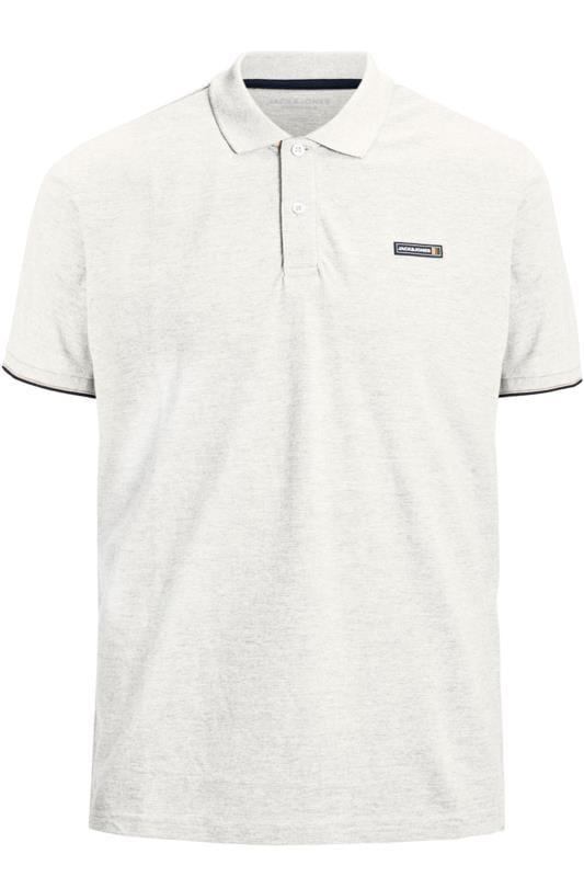 Plus Size Beauty JACK & JONES White Logo Badge Polo Shirt
