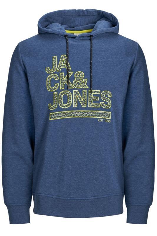 Jack & Jones Hoodies  JACK & JONES Blue Marl Logo Hoodie 201396