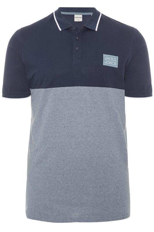 JACK & JONES Navy & Grey Colour Block Polo Shirt