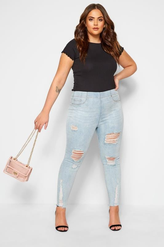 Plus Size Jeggings Light Bleach Blue Ripped Raw Hem JENNY Jeggings