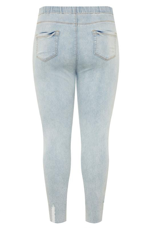 Light Bleach Blue Ripped Raw Hem JENNY Jeggings