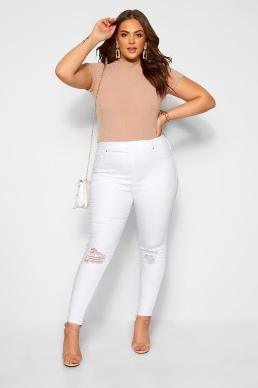 Plus Size Jeggings White Ripped JENNY Jeggings