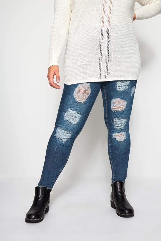 Große Größen Jeggings Jeans Jenny im zerrissenen Look - Indigoblau