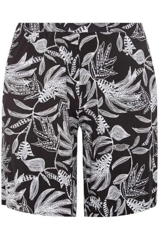 Black Leaf Print Jersey Shorts
