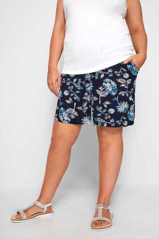 Plus Size Jersey Shorts Navy Floral Jersey Shorts