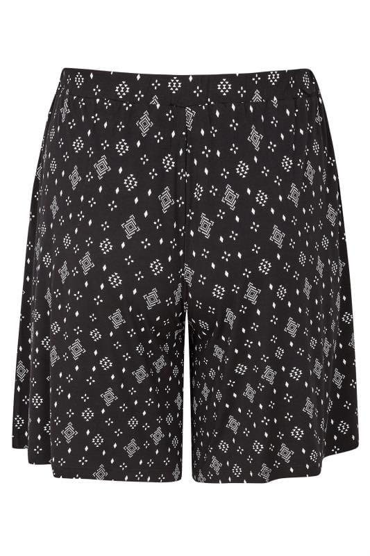 Black Aztec Jersey Shorts