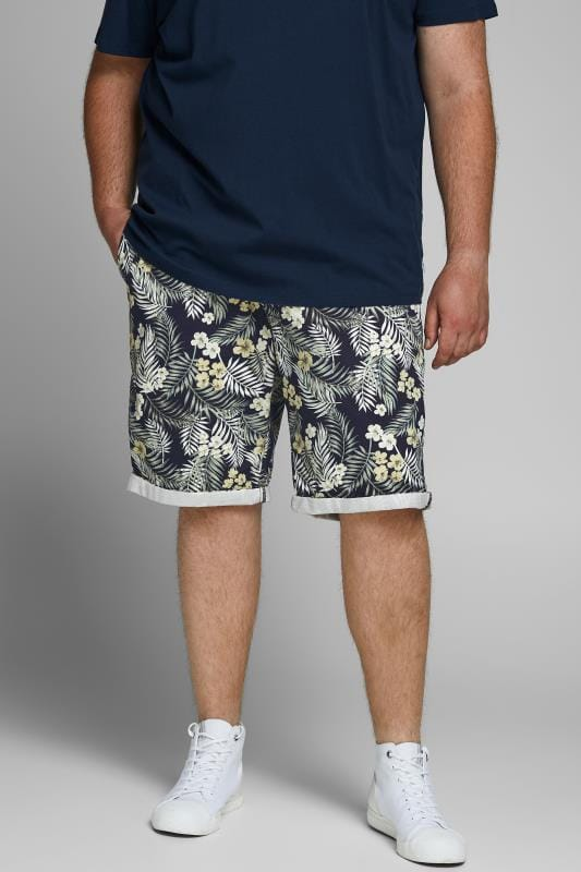 Plus Size Casual / Every Day JACK & JONES Navy Floral Leaf Print Shorts