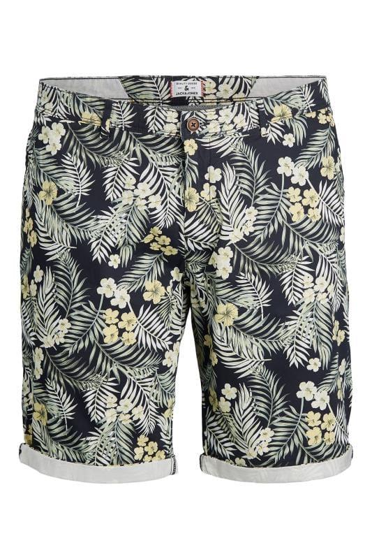JACK & JONES Navy Floral Leaf Print Shorts