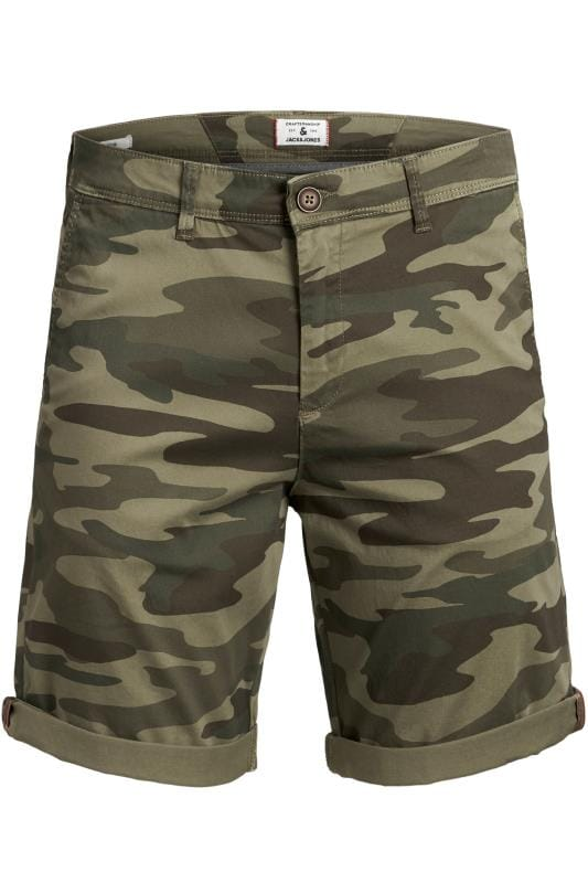 Plus Size Casual / Every Day JACK & JONES Green Camo Print Shorts