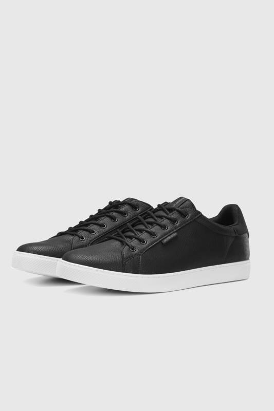 Footwear JACK & JONES Black Faux Leather Trainers 202110