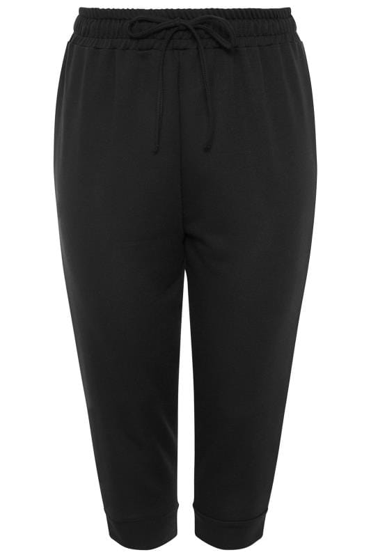 Black Drawstring Waist Cropped Joggers