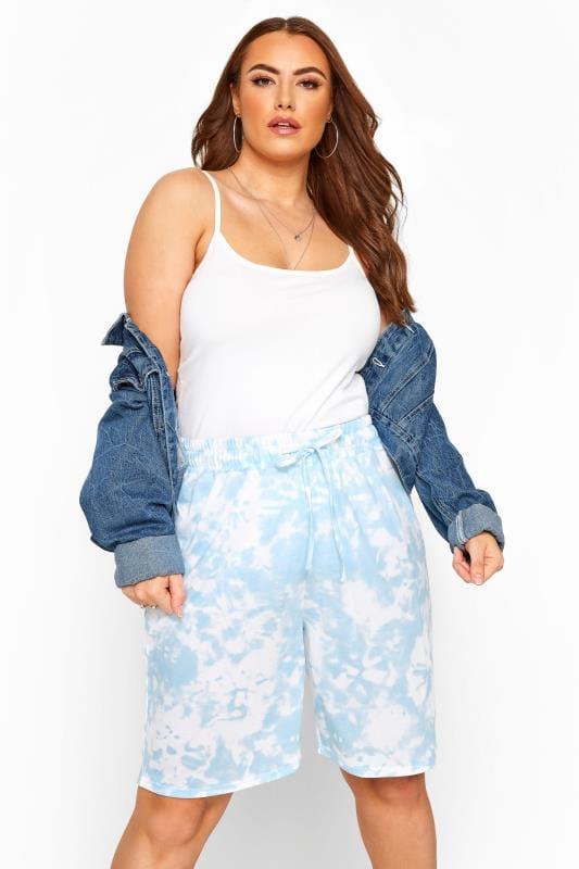 Plus Size Joggers Blue Tie Dye Jogger Shorts