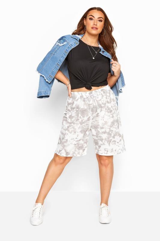 Plus Size Joggers Grey Tie Dye Jogger Shorts