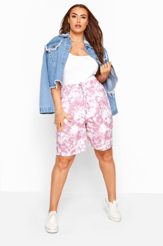 Pink Tie Dye Jogger Shorts