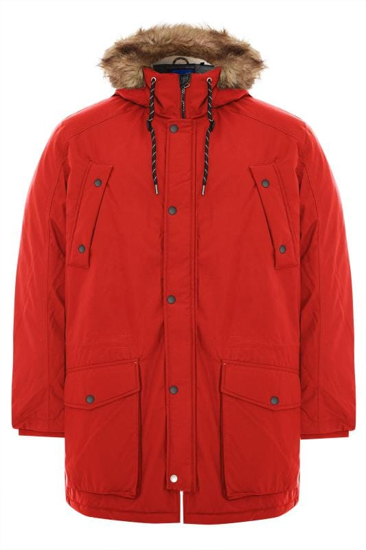 Manteaux Grande Taille JACK & JONES - Manteau Parka Rouge