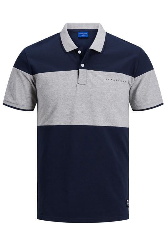 Plus Size Beauty JACK & JONES Navy Pro Colour Block Polo Shirt
