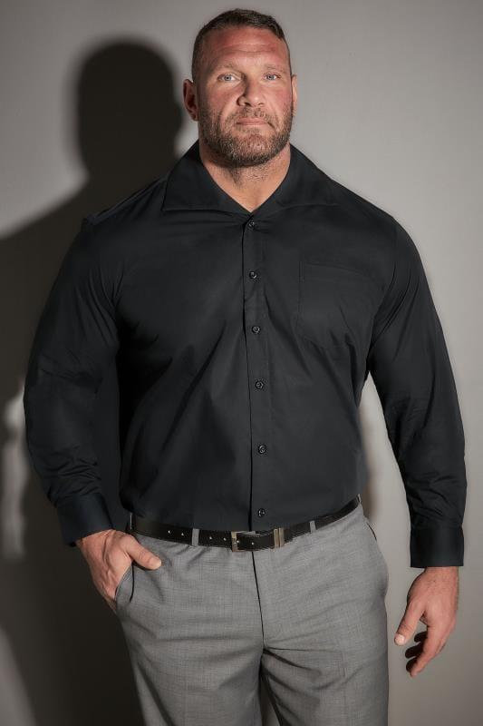 JP 1880 Black Comfort Fit Shirt With Cutaway Collar