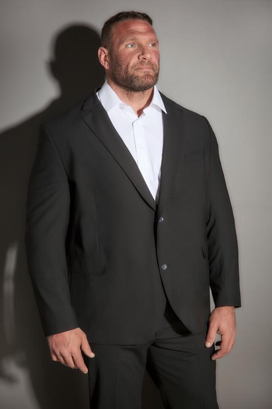 Plus Size Suit Jackets JP 1880 Black Comfort Fit Suit Jacket