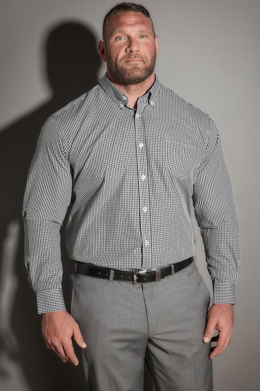 JP 1880 Black & White Comfort Fit Gingham Shirt