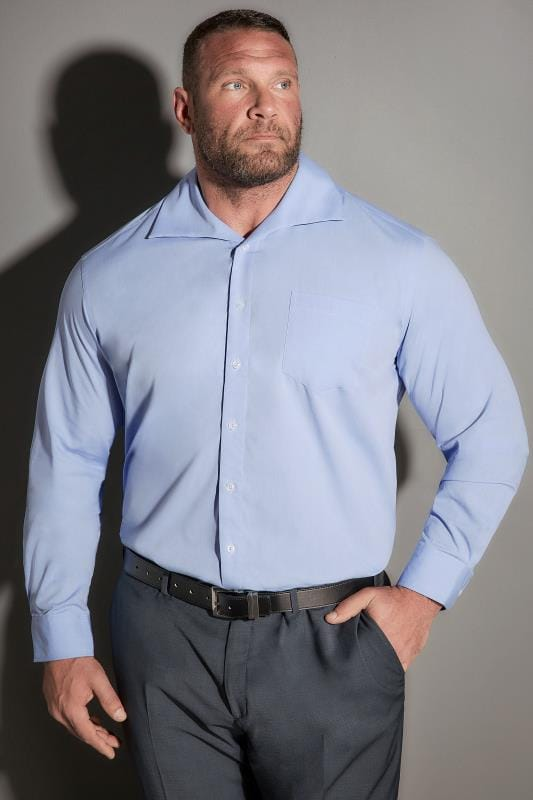 Smart Shirts JP 1880 Blue Comfort Fit Shirt With Cutaway Collar 200876