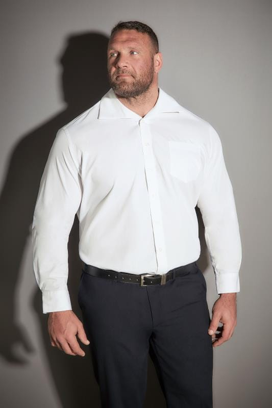 JP 1880 White Comfort Fit Shirt With Cutaway Collar