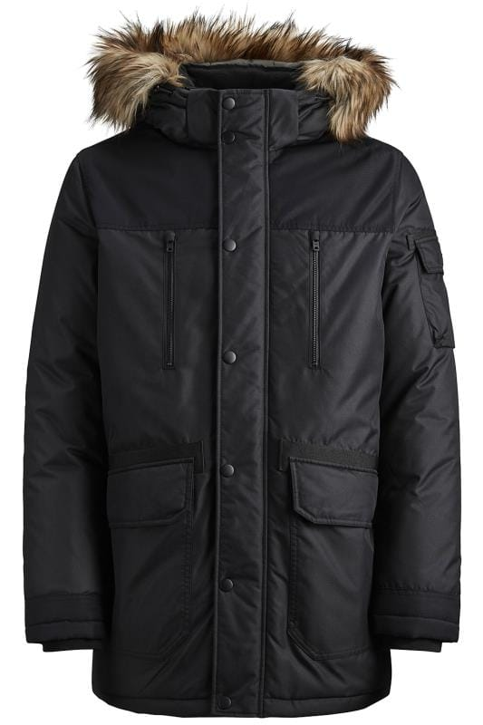 Coats JACK & JONES Black Faux Fur Parka Coat