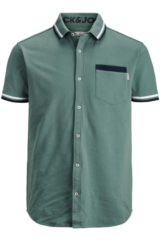 Plus Size Casual / Every Day JACK & JONES Green Cotton Pique Short Sleeved Shirt