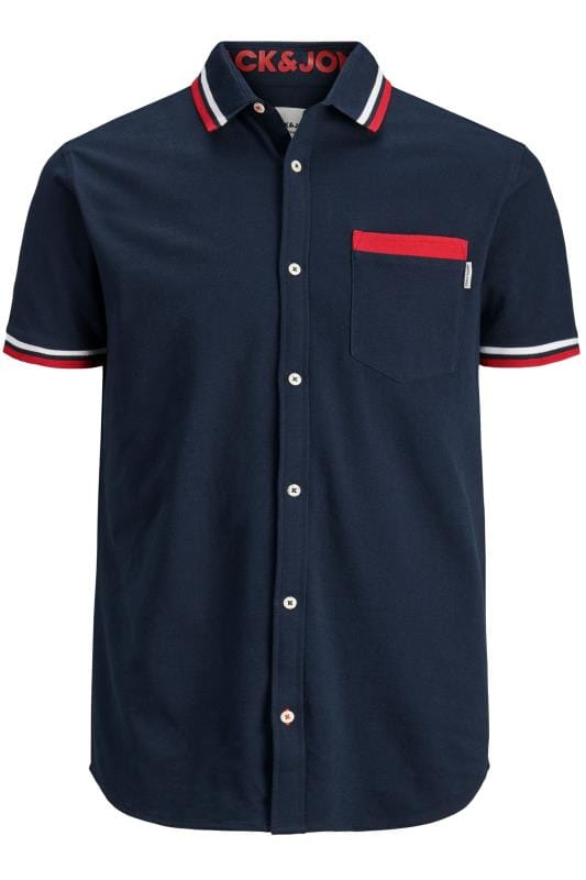 Casual / Every Day dla puszystych JACK & JONES Navy Cotton Pique Short Sleeved Shirt