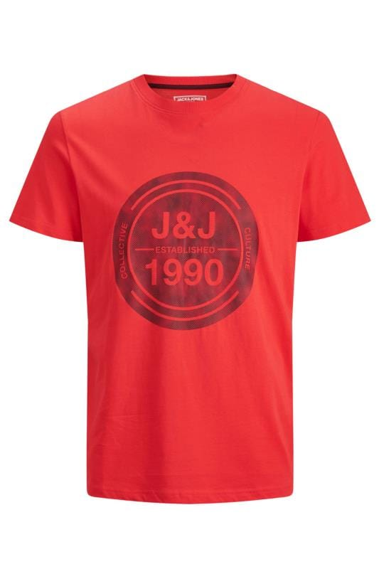 Plus Size Casual / Every Day JACK & JONES Red Circle Logo T-Shirt