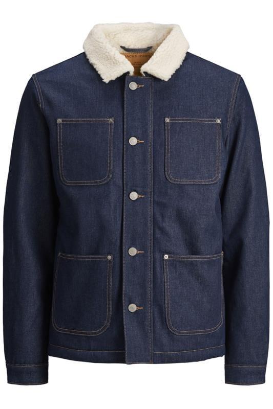 Coats JACK & JONES Navy Teddy Collar Denim Jacket 202044