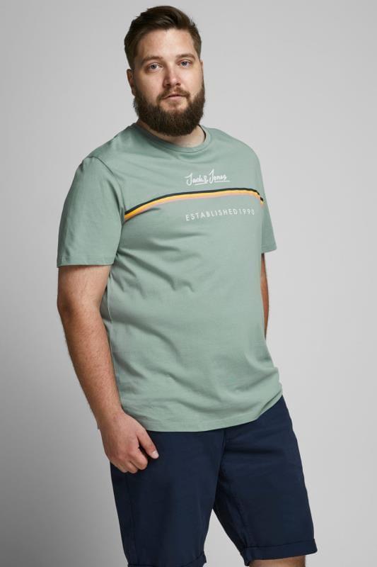 Plus Size Casual / Every Day JACK & JONES Green Logo Crew Neck T-Shirt