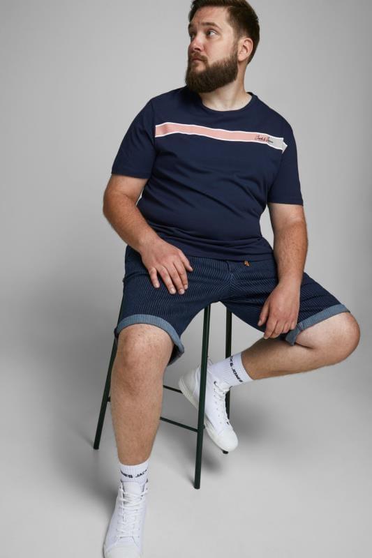 Plus Size Casual / Every Day JACK & JONES Navy Logo Crew Neck T-Shirt