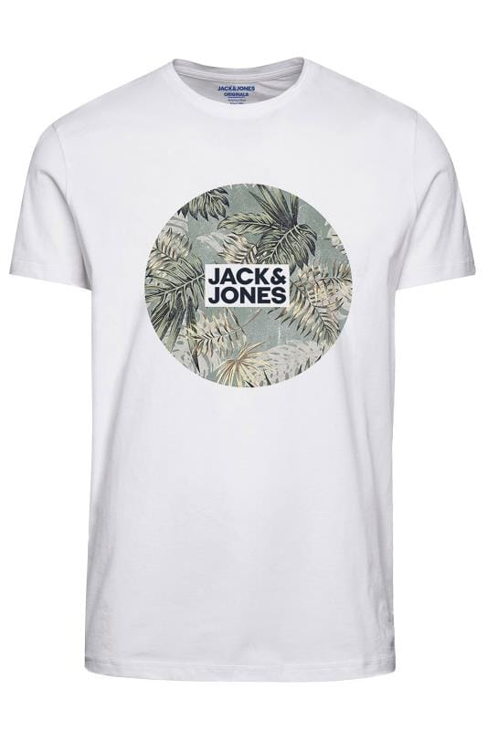 Plus Size T-Shirts JACK & JONES White Circle Logo T-Shirt