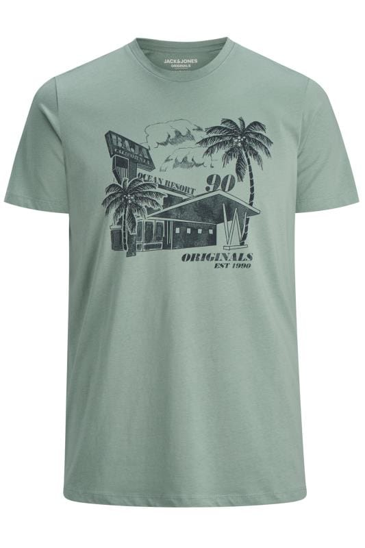 Plus Size T-Shirts JACK & JONES Green Postcard Graphic T-Shirt