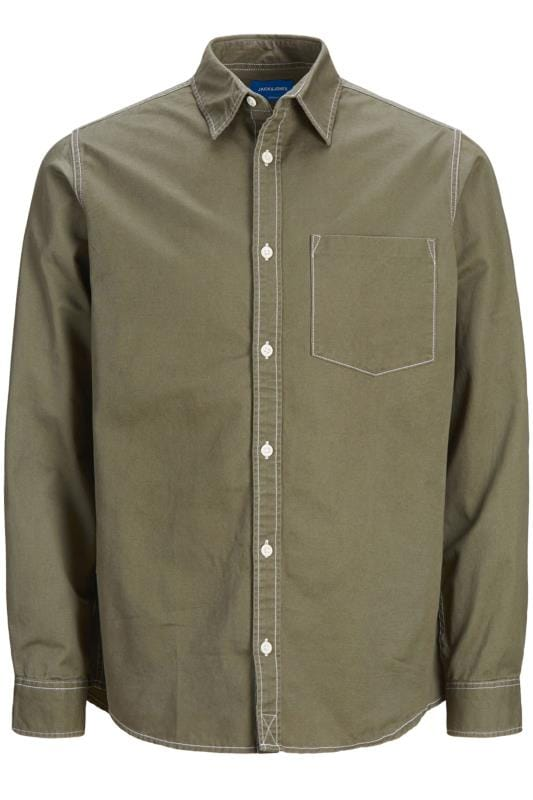 Plus-Größen Casual Shirts JACK & JONES Langarm-Hemd - Khaki