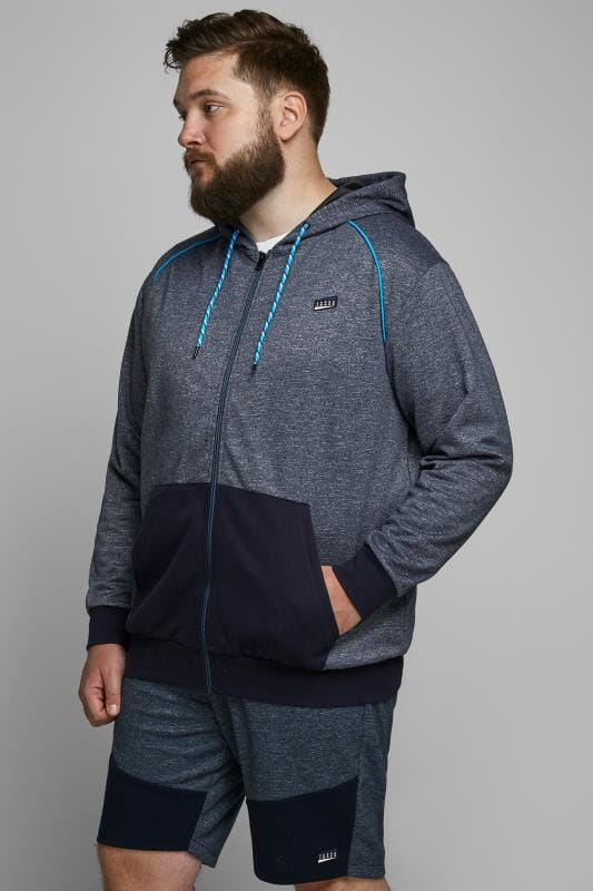 Plus-Größen Hoodies JACK & JONES Grey & Blue Zip Through Hoodie