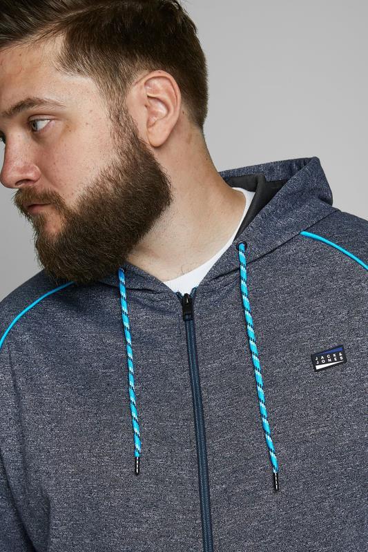 JACK & JONES Grey & Blue Zip Through Hoodie