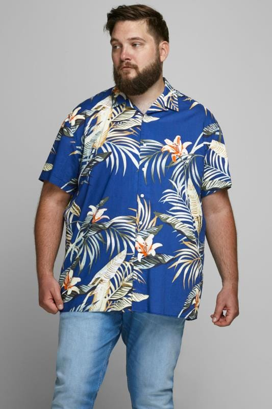 Casual / Every Day Grande Taille JACK & JONES Blue Hawaiian Shirt