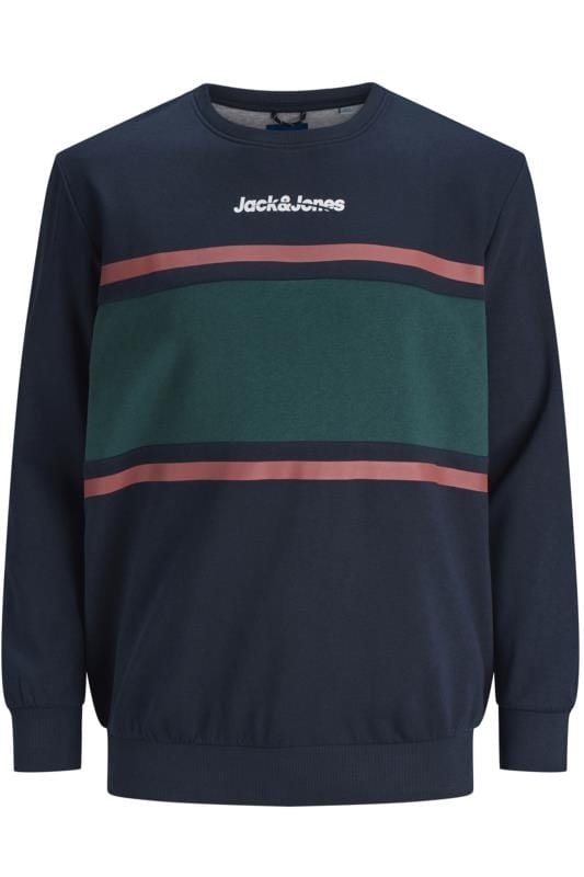 Sweatshirts JACK & JONES Navy & Green Colour Block Sweatshirt  201983